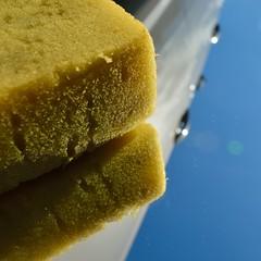 Sponge Car Square Shot (robjvale) Tags: inthemirror nikon d3200 mirror reflection sponge yellow sky blue car clean chore hmm macromonday