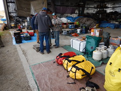 Getting gear weighed to distribute among the three planes we'll be needing to get out to Pingo Lake