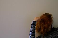 Self portrait (Julianne Baker) Tags: short hair self portrait stripes university stress stressed blank wall red strawberry blond scatter brain peaceful