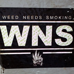 Weed Needs Smoking Sticker on NYC Lightpole2 (Barbara Brundage) Tags: weed needs smoking sticker nyc lightpole new york city july 2016