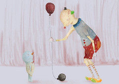 Fake balloons (twiing) Tags: color clown illustration art artist sketch sketching sad surreal drawing dream digitalart draw design digital children paint tamron smile hand heavy happy photoshop photo person pencil