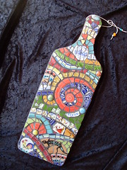 Mosaic Plaque (dumblady mosaics) Tags: china art broken wall cheese mexico san hand cut mosaic board mosaics mexican tiles cutting plates dishes etsy antonio picassiette dumblady dumbladymosaics