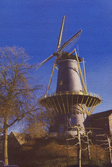 Mill at Woerden in late winter light. Gomdruk. (Hans de Bruijn) Tags: holland netherlands windmill watercolor gumbichromate alternativeprocess bichromate altprocess alternativeprocesses gumprint digitalnegatives gumbichromateprint hansdebruijn gommebichromate ancientphotography gomdruk gummidruck