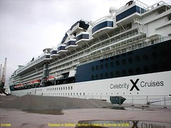 Belfast.- Celebrity X Docked in Belfast .. 2006, Northern Ireland. (mrvisk) Tags: lough irish liner cruises boat old pic tourists visitors history co county antrim mrvisk ulster outdoor street attraction grey sky holidays
