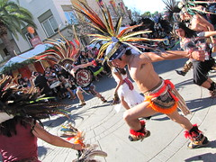 Aztec Dancers (shaire productions) Tags: california street costumes portrait people fashion dayofthedead photography oakland photo dance costume outfit movement colorful dancers dancing image aztec action folk candid traditional performance creative feathers culture mexican event photograph american gathering diadelosmuertos eastbay sfbayarea tradition activity ornamental performer fruitvale cultural imagery headdress