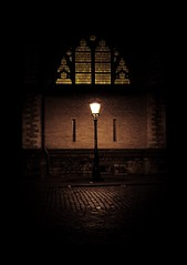 Domkerk @ night (Mattijsje) Tags: street city autumn windows light church window glass lamp stone wall night outside utrecht darkness nightshot nacht streetlights stones dom bricks egg stainedglass stained citylights lantern domkerk kerk stad ei domplein streetlantern nightexposure straatlantaarn lantaarn domstraat churchlights