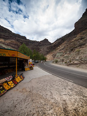 Mountain Road (wwarby) Tags: grancanaria spain abroad clouds cloudy family fruit fruitstall holiday holiday2012grancanaria island mountains outdoors road rocks shop stall store street vacation