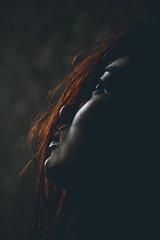 rainwater (Carlos Eliason) Tags: red hot reflection girl beautiful face canon dark hair key gorgeous side low 5d f4 70200mm 5dmkii carloseliason
