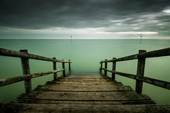Missed the Boat (Scott Baldock Photography) Tags: park wood uk sea bw green art beach water thames clouds stairs river dark point landscape grey bay pier boat wooden kent seaside nikon mod long exposure path ministry great steps east thorpe gb marker leigh tamron riverthames essex hadleigh leighonsea southend shoeburyness defence bannister garrison lightroom kursaal southendonsea eastbeach southchurch chalkwell shoebury wakering prittlewell nd110 d5000
