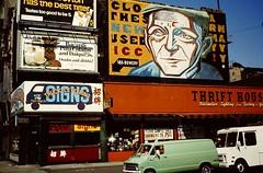 NYC April 1980 pic084 b (streamer020nl) Tags: nyc signs newyork ford chevrolet advertising 2000 manhattan thrift bowery dodge vans 1980 3000 wallpainting gmc 1000 streetname 4000 stepvan dodgetradesman straatnaam tigersignco chevroletgmcstepvan