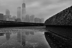 Foggy Chicago (Seth Oliver Photographic Art) Tags: blackandwhite chicago fog skyline clouds reflections landscapes iso200 illinois nikon midwest cloudy foggy cityscapes pinoy johnhancockbuilding circularpolarizer chicagoskyline urbanscapes monochromes chicagoist rivereast d90 wetreflections olivepark handheldshot cityofchicago aperturef80 manualmodeexposure setholiver1 1024mmtamronuwalens 1160secondexposure croppedforcomp streetertville