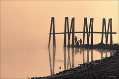 Morning on the River (0002ba) (zormsk) Tags: autumn mist fog river fishing arkansas pilings arkansasriver dardanelle zormsk