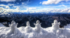 Guardians of the Alps (shylands) Tags: winter sky panorama snow man mountains alps cold salzburg clouds austria see frozen am snowman view alpine snowmen exploration 3000 meters hdr platforms zell kaprun kitzsteinhorn metres 3029 gipfelwelt panoramaplatforms