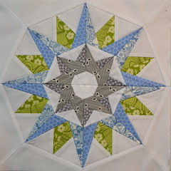 Block for Me (jenjohnston) Tags: blue green grey star compass quiltblock paperpieced quiltingbee 4x5bee