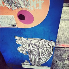 (croissantthief) Tags: seattle streetart graffiti wheatpaste graf stickers slap heck thestranger slaps slaptag seattlestreetart heckzotica sissiesrule heckseattle