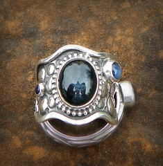 Manannan Mac Lir's Elemental Water 3 sapphire s set in forged sterling silver band (leespicedragon) Tags: blue art water silver dragon god ooak band ring handcrafted sterling celtic forged sapphire elemental cabochon manannanmaclir