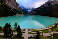 Lake Louise, Banff National Park, Alberta, Canada (Black Diamond Images) Tags: lake canada rockies alberta rockymountains lakelouise banffnationalpark chateaulakelouise victoriaglacier therockies icefieldparkway scenictours treasuresoftherockies