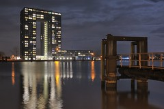 CITY LIGHTS,, TASMAN TOWER /GRONINGEN#1 (Wim Hazenhoek.) Tags: longexposure netherlands photographer nederland nightshots wim groningen masterpiece supershot meesterwerk nikkor2870f28 d700 overtheexcellence nikond700 benrotripod wimhazenhoek hazenhoek
