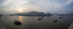 Sunset from Sofitel balcony (maxunterwegs) Tags: china sunset panorama sonnenuntergang stitch pano prdosol guangdong macau ocaso stitched zhuhai chine coucherdesoleil macao microsoftice sofitelmacauatponte16 sofitelmacau