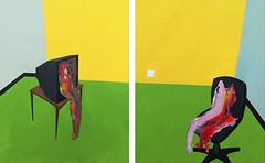 Autorretrato con televisión. 100 x 160 cm. Acrylic on canvas. 2009