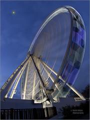 York Ferris Wheel (bretton98) Tags: york uk winter photography dusk nopeople spinning ferriswheel bluehour royalyorkhotel canon50d bretton98 davidwhitephotography samyang8mmultrawideangle