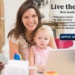 Mother and baby in home office with laptop thumbnail