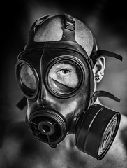 I'll be watching you... (joehantsphoto) Tags: man gas mask low key nikon d610 85mm high iso mono eye dark challenging scary sinister horror chemical protection
