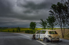 Don't Hurry (BlaizeG) Tags: car fire sky highway4 road serbia burn storm bakatopola vojvodina rs