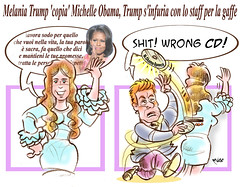 Melania Trump (Moise-Creativo Galattico) Tags: trump vignette obama satira attualit moise giornalismo melaniatrump michelleobama editoriali moiseditoriali editorialiafumetti