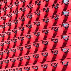 Infinite Mirrors (-DerFranke-) Tags: canon eos6d eos ef 70200 f4 l is usm deutschland germany niedersachsen wolfsburg autostadt volkswagen pavillon rot red spiegel ausenspiegel pkw car outside mirror 6d rearview abstrakt abstract ef70200f4lisusm square format schatten shadows
