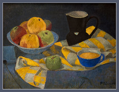 Pommes sur fond bleu / Apples on a blue background - Paul Srusier - 1917 - Muse des Beaux-Arts de Quimper (christian_lemale) Tags: france museum painting paul nikon bretagne muse peinture painter kemper quimper finearts peintre beauxarts nabis d7100 paulsrusier srusier