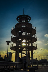 Old watch tower (elenaleong) Tags: silhouette singapore watchtower backlights kallangriver lightbursts tgrhusunset elenaleong
