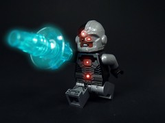 Cyborg Action (MrKjito) Tags: lego minifig super hero dc comics cyborg victor star labs robot machine cannon arm footbal justice league