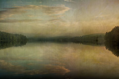 Morning-on-The-Lake (desouto) Tags: nature hdr pond lake water plants trees morning painterly fog clouds