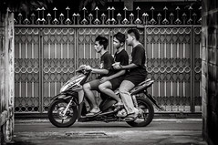 Three Guys on a Motorbike #0188-2 (svenpetersen1965) Tags: bangkokstreet alley fence motorbike motorcycle street transport   bangkok krungthepmahanakhon thailand th