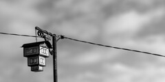 House street Lamp (pestanec) Tags: house street lapm lighter light bubl vintage wire clouds black white ohrid macedonia old