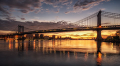 Golden hour, Manhattan bridge (urbanexpl0rer) Tags: manhattanbridge newyorkcity newyork bridge goldenhour morning sunrise clouds skycolorful waterreflections water longexposure