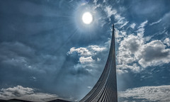 Space, the final frontier (Jorden Esser) Tags: 1964 moscow clouds hss monument rocket sculpture sky sliderssunday sun titanium