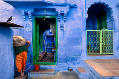 Home. Jodhpur, India (Marji Lang Photography) Tags: 2013 asia inde india jodhpur marjilang rajasthan traveldestinations atmopheric atmosphere blue bluecity bluecolor bluehouse bluemood colorphotography colorful colors documentary door doorstep home homesweethome horizontal house life man mood oldjodhpur oldcity one onepeople oneperson people photography traditional traditionalhouse travel traveldestination travelphotography urbanscene