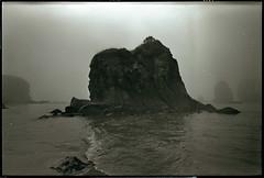 Oregon Coast (Garrett Meyers) Tags: garrettmeyers garrett meyers film filmshooter ilford mediumformat sea seascape grain realfilm shoot handdeveloped mamiya fog mist rolling waves islands boulders landscape
