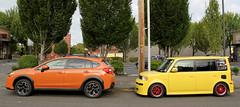 Skittles Garage (M.Chopra) Tags: scion scionxb xb bb toaster subaru xvcrosstrek crosstrek yellow orange red portland oregon portlandor portlandia