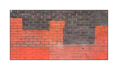Graffiti Removal, East London, England. (Joseph O'Malley64) Tags: buffart thebuff graffitiremoval eastlondon eastend london england uk britain british greatbritain wall walls terracotta paint painted paintroller brickwork pointing