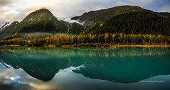 Portage Valley (Traylor Photography) Tags: alaska wideangle reflection mountains portage glacier fall nilon morning portagelake portageroad scenic colors portagevalley sewardhighway girdwood panorama anchorage unitedstates us