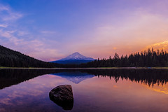Mount Hood Magic (Dan Mihai) Tags: morning trees mountain lake reflection nature water rock clouds oregon sunrise landscape trillium mirror landscapes still quiet magic vivid peaceful mthood magical mounthood trilliumlake governmentcamp