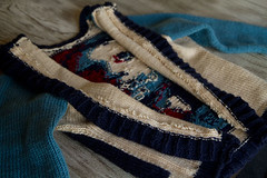 Obama-Rama Cardigan (iwriteplays) Tags: sweater obama cardigan 2012 steeking knittingblog obamarama