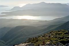 New River Lagoon from Mt Wylly, Southern Range, SW Tasmania, Australia, 16th January, 1973. (garratt3) Tags: film pentax takumar unescoworldheritagesite bushwalking tasmania kodachrome wilderness tasmanian southcoasttrack tasmanianwilderness southwestnationalpark southernrange lunerange