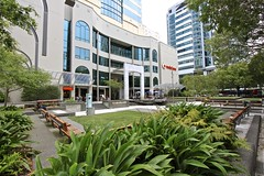 Vodafone on the Quay (oxfordblues84) Tags: park trees newzealand bench downtown nz wellington northisland vodafone benches umbrellas midlandpark 5photosaday vodafoneonthequay forsythbarr 157lambtonquay