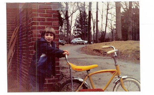 Yellow and red Schwinn around age 5/6