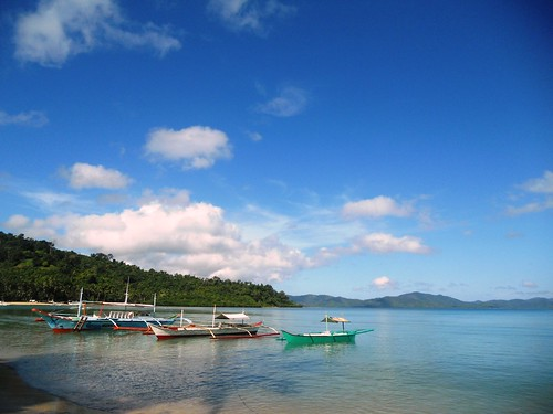 Tourist and fishing boats in Port Barton, San Vicente, Palawan, Philippines. Photo by Mary Aileen M delas Alas, 2011.