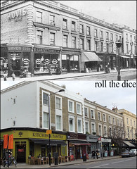 Elgin Crescent`1906-2012 (roll the dice) Tags: life charity uk people urban london art history classic beer lamp architecture kids advertising bread pub sad wine drinking ale busstop spirits collection shops local pantry 1906 changes edwardian rococo w11 bakers boozer oldandnew hovis publichouse portbello ladbrokegrove pastandpresent londonist kensingtonchelsea bygone hereandnow darenbread